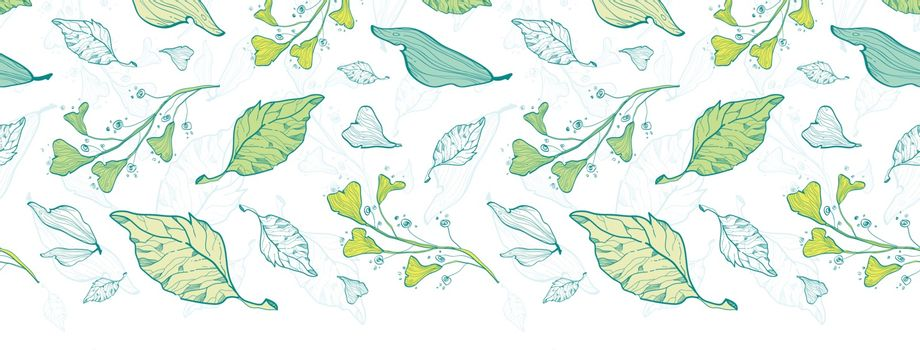 Vector lineart spring leaves horizontal border seamless pattern background graphic design