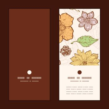 Vector warm fall lineart flowers vertical round frame pattern invitation greeting cards set graphic design