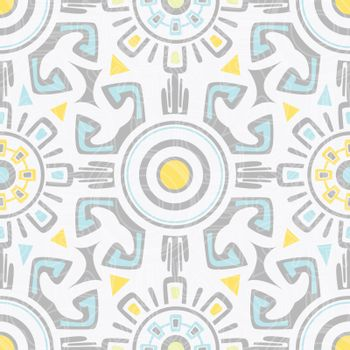 Vector grey blue yellow tribal seamless pattern graphic design