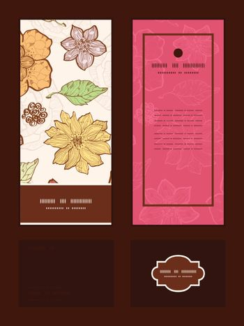 Vector warm fall lineart flowers vertical frame pattern invitation greeting, RSVP and thank you cards set graphic design