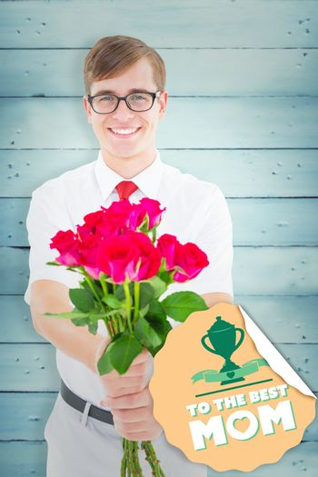 Geeky hipster offering bunch of roses against wooden planks
