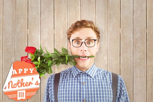 Geeky hipster biting a bunch of roses against wooden planks