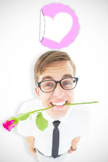 Geeky hipster holding a red rose in his teeth against mothers day greeting