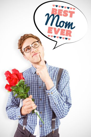 Geeky hipster holding a bunch of roses against best mom ever