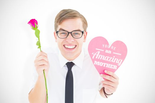 Geeky hipster holding a red rose and heart card against mothers day greeting