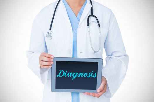 Diagnosis against doctor showing tablet pc