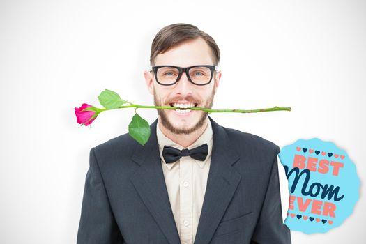 Geeky hipster holding rose between teeth against best mom ever