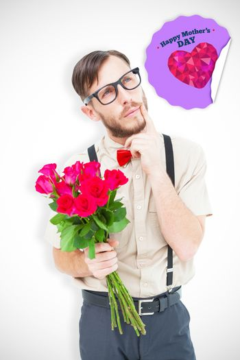 Geeky hipster offering bunch of roses against happy mothers day
