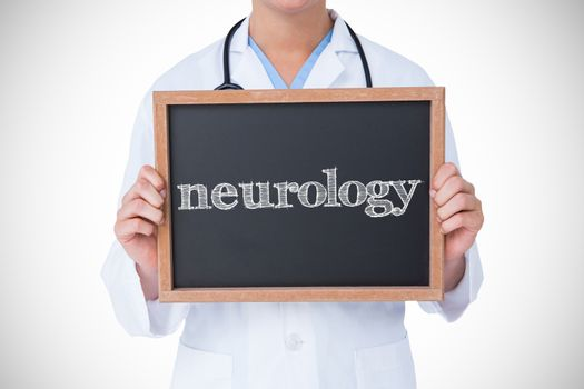 Neurology against doctor showing little blackboard