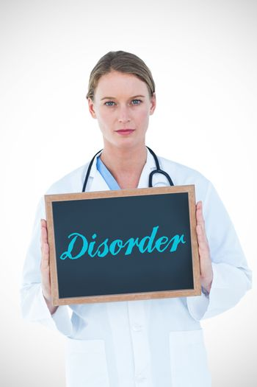 Disorder against doctor showing chalkboard