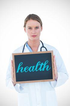 Health against doctor showing chalkboard