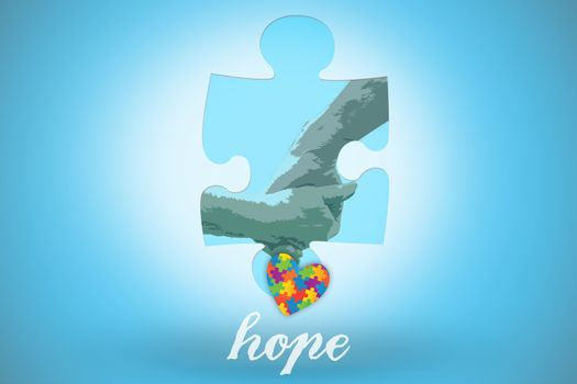 Hope against blue background with vignette
