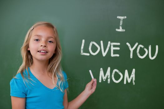 Mothers day greeting against green chalkboard