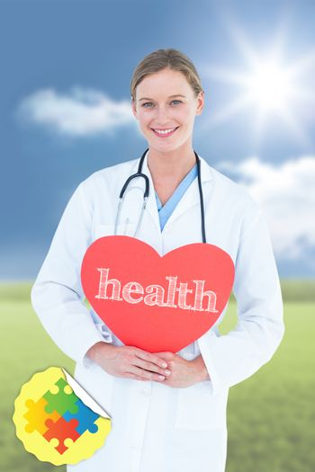 Health against sunny green landscape