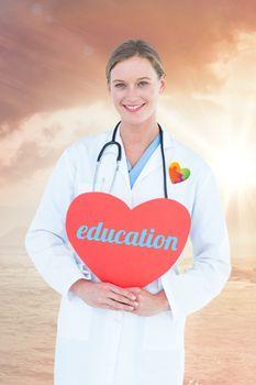 Education against sunrise over magical sea