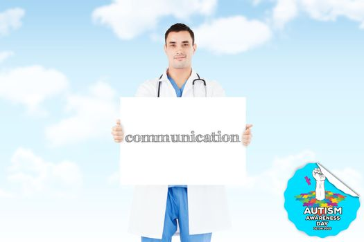 The word communication and portrait of a doctor holding a blank panel against blue sky