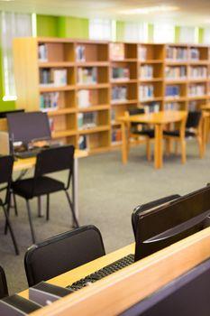 Empty seats and bookshelves