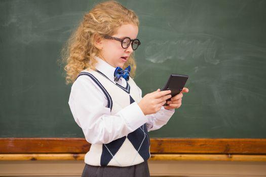 Pupil using calculator