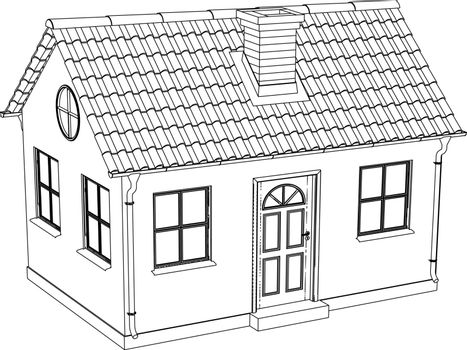Wire-frame house. Vector illustration rendering of 3d