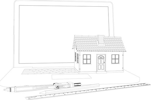Sketch of house standing on laptop. Nearby are engineer tools. Vector illustration rendering of 3d