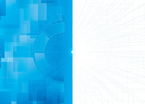 Abstract blue print technical background.