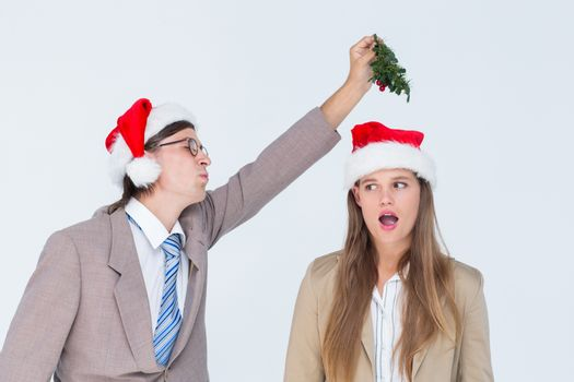 Geeky hipster with mistletoe