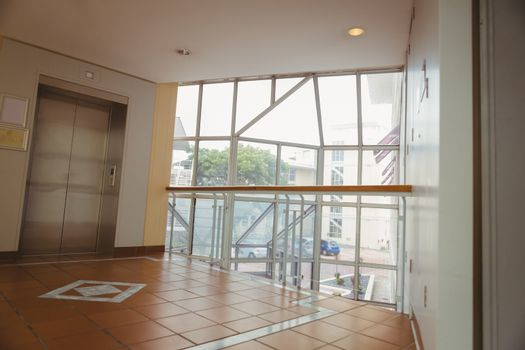Foyer area with elevator