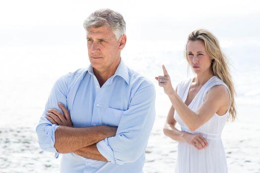 Upset couple having a disagreement
