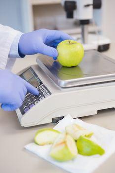 Scientist weighing apple