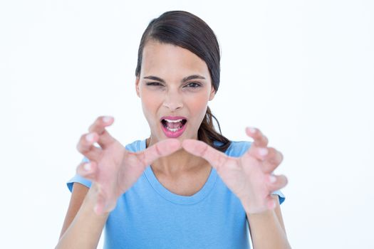 Furious woman with hands up