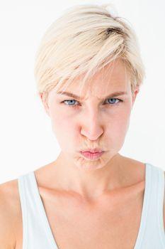 Angry woman looking at camera