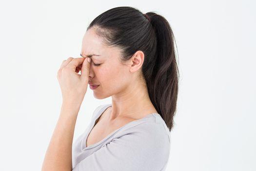 Brunette suffering from migraine