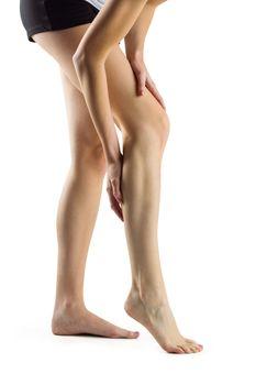Woman with leg injury