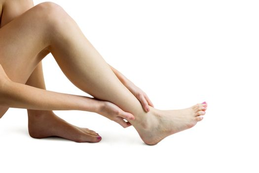 Woman with ankle injury