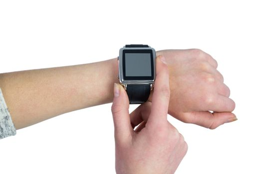 Woman using her smartwatch