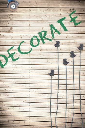 Decorate  against plugs on wooden background