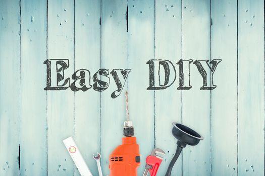 Easy diy against diy tools on wooden background