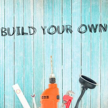 Build your own against tools on wooden background