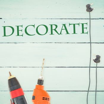 Decorate  against tools on wooden background