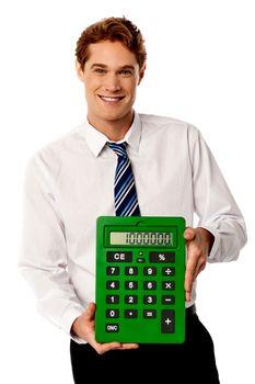 Male executive with big calculator.