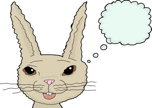Fuzzy Cartoon Rabbit Over White