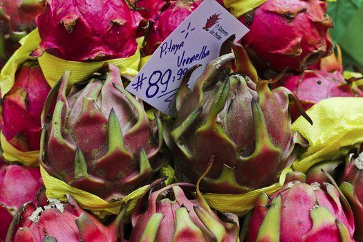 Exotic fruit pitaya exposed in the Market