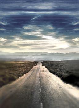 Desert landscape and road