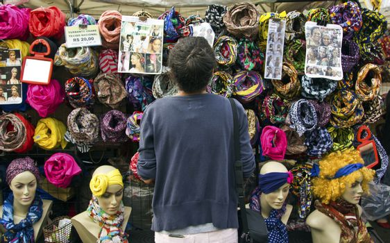 SAO PAULO, BRAZIL - MAY 17, 2015: An unidentified woman in street in Sao Paulo downtown.