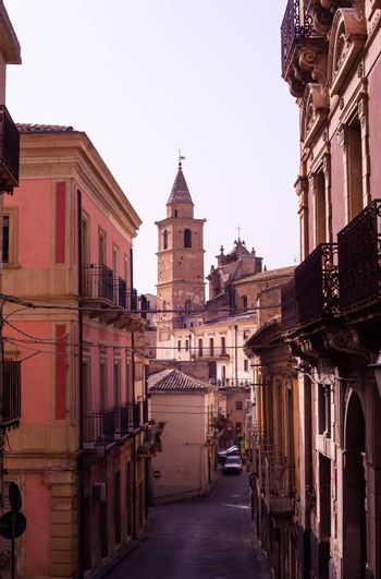 View of bell tower in the Agira street, little town in the centre of Sicily.