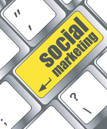 social marketing or internet marketing concepts, with message on enter key of keyboard