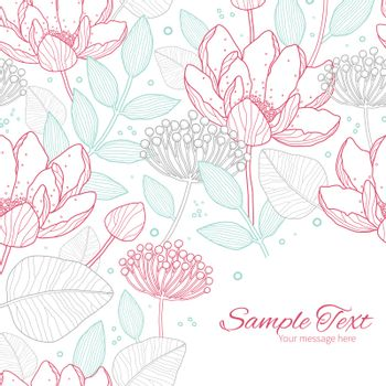 Vector modern line art florals frame corner pattern background graphic design