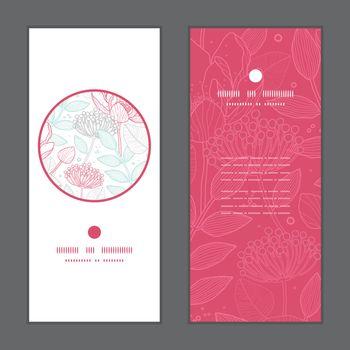 Vector modern line art florals vertical round frame pattern invitation greeting cards set graphic design