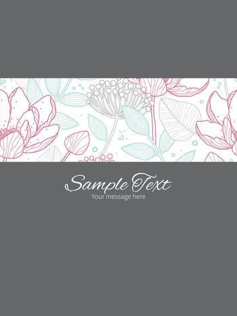 Vector modern line art florals stripe frame vertical card invitation template graphic design