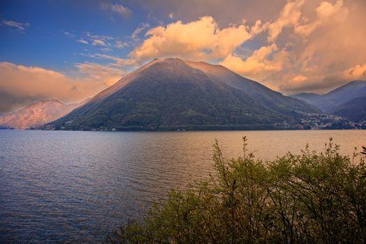View of lake Lugano or Ceresio lake, Switzerland and Italy